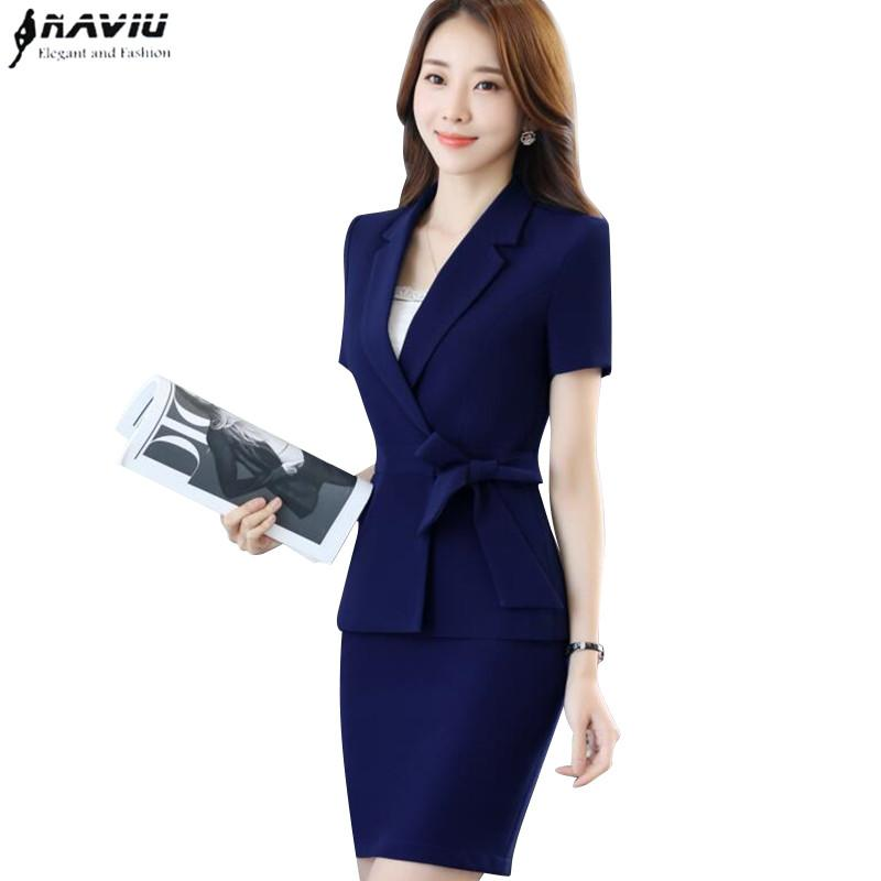 af1d94a8564 2019 New Fashion Business Skirt Suits Female Summer Short Sleeve Slim  Blazer With Skirt Office Ladies Plus Size Elegant Work Wear From  Movearound