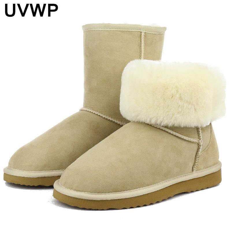 e861eb97ee8 Classical High Quality Real Sheepskin Leather Snow Boots Natural Fur Winter Boots  Women Boots Warm Shoes Chukka Boots Ladies Shoes From Dealbag