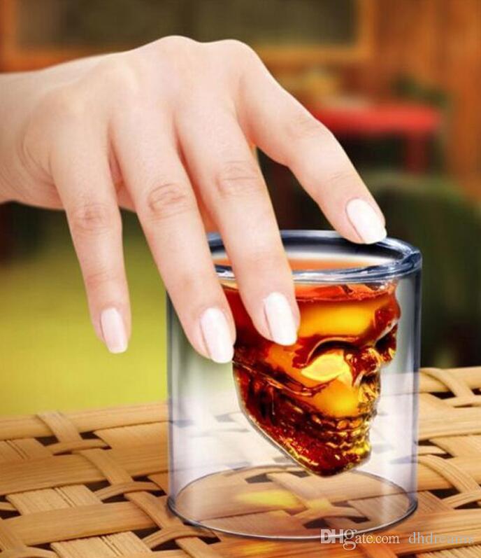 25 ML copa de vino cráneo vaso de vidrio cerveza whisky decoración de Halloween partido creativo vasos transparentes vasos de beber