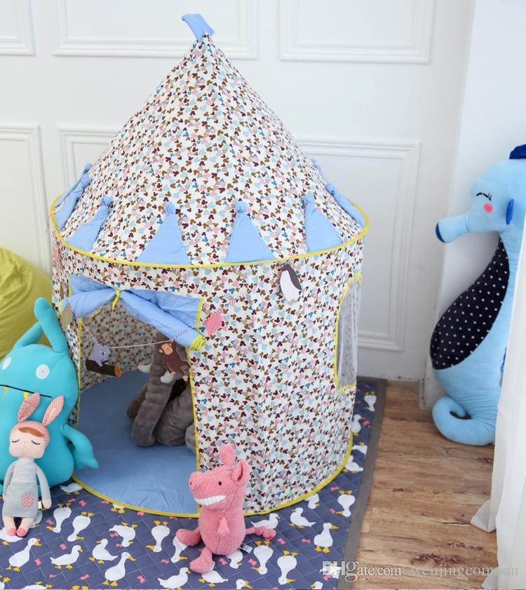 منزل للأطفال لعبة خيمة قلعة السعر الأزرق أفضل هدية للأطفال كيد خيمة مسرح للأطفال اللعب في الهواء الطلق