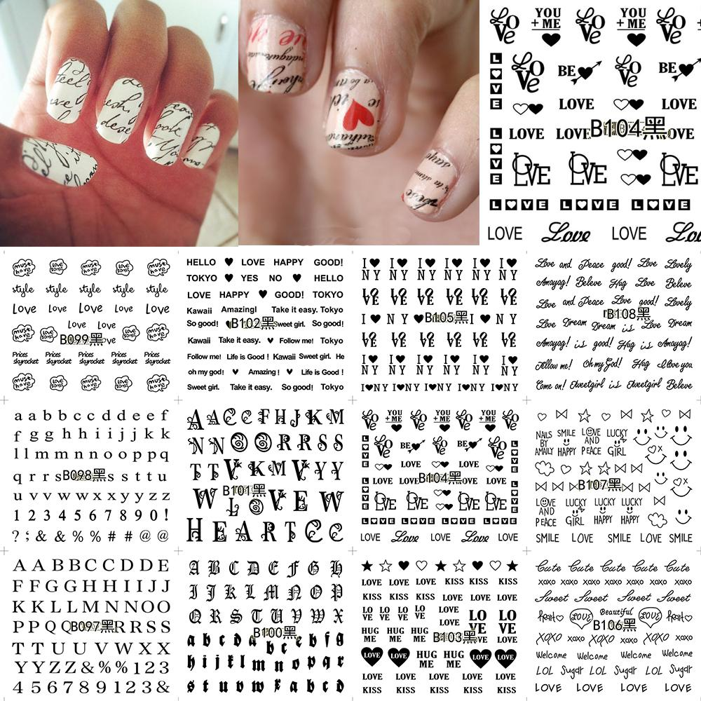 12 Sheets Nail Art Water Transfer Sticker Black English Leer Number