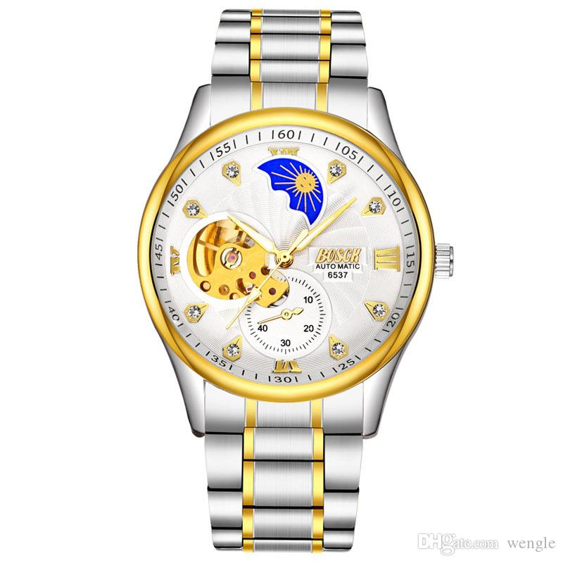 wengle New 2018 fashion Precision waterproof Automatic Sun Moon flywheel design Luminous diamond Men mechanical watch