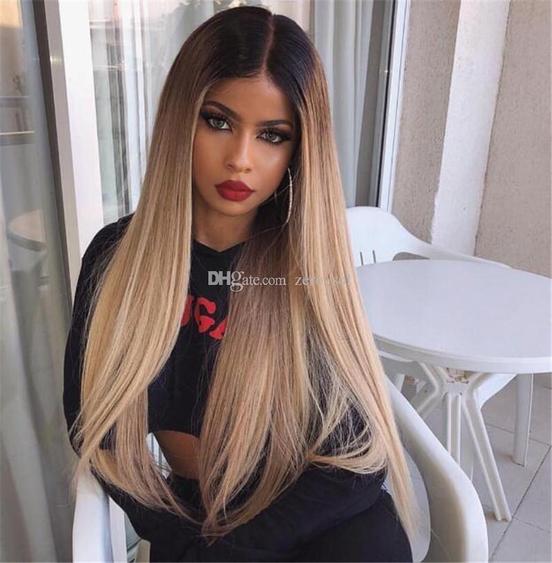 Siyah Kadınlar ile BabyHair için İpeksi Düz Ombre Dantel Ön İnsan Saç Peruk Tutkalsız iki sesi Sarışın Perulu Remy Saç Peruk