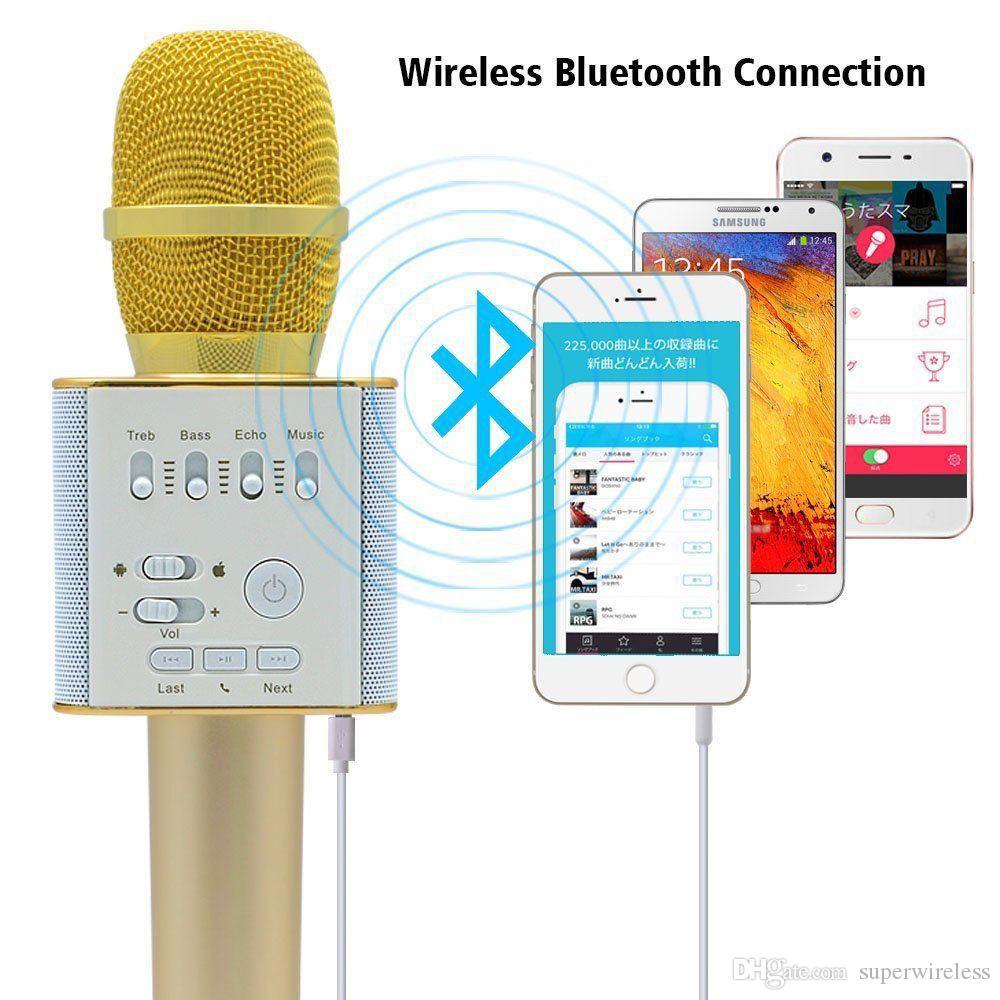 Q9 04 Kabelloses Karaoke-Mikrofon Bluetooth-Lautsprecher 2-in-1-Handheld Sing Recording Tragbarer KTV-Player für iOS / Android