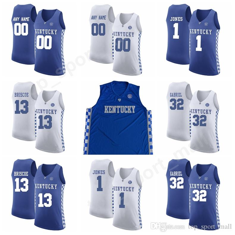 finest selection 6de9f 59565 Men Basketball 5 Kevin Knox Jersey Kentucky Wildcats College 3 Hamidou  Diallo 25 PJ Washington 32 Wenyen Gabriel Jerseys Custom Blue White