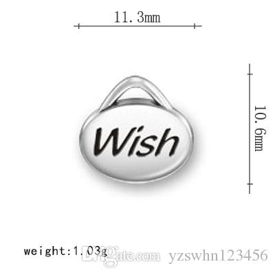Inspirational Charms Word Engraved Success Inspire Dream Wish Engraved Message Charms For Jewelry Making