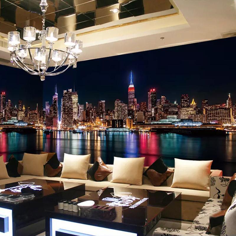 Stadt Nachtsicht Benutzerdefinierte 3D Fototapete Für Wohnzimmer  Schlafzimmer Dekoration Bar Restaurant Hotel Wandbild Tapetenrolle