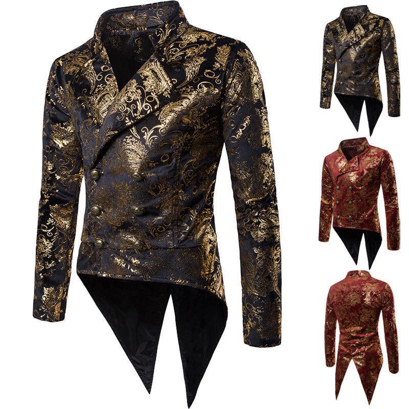 ebc18afe39 Men Gilding Suit Blazer Tails Tuxedo Business Jacket Autumn Wedding Dress  Casual Cocktail Party Suit Butler Cos Clothes