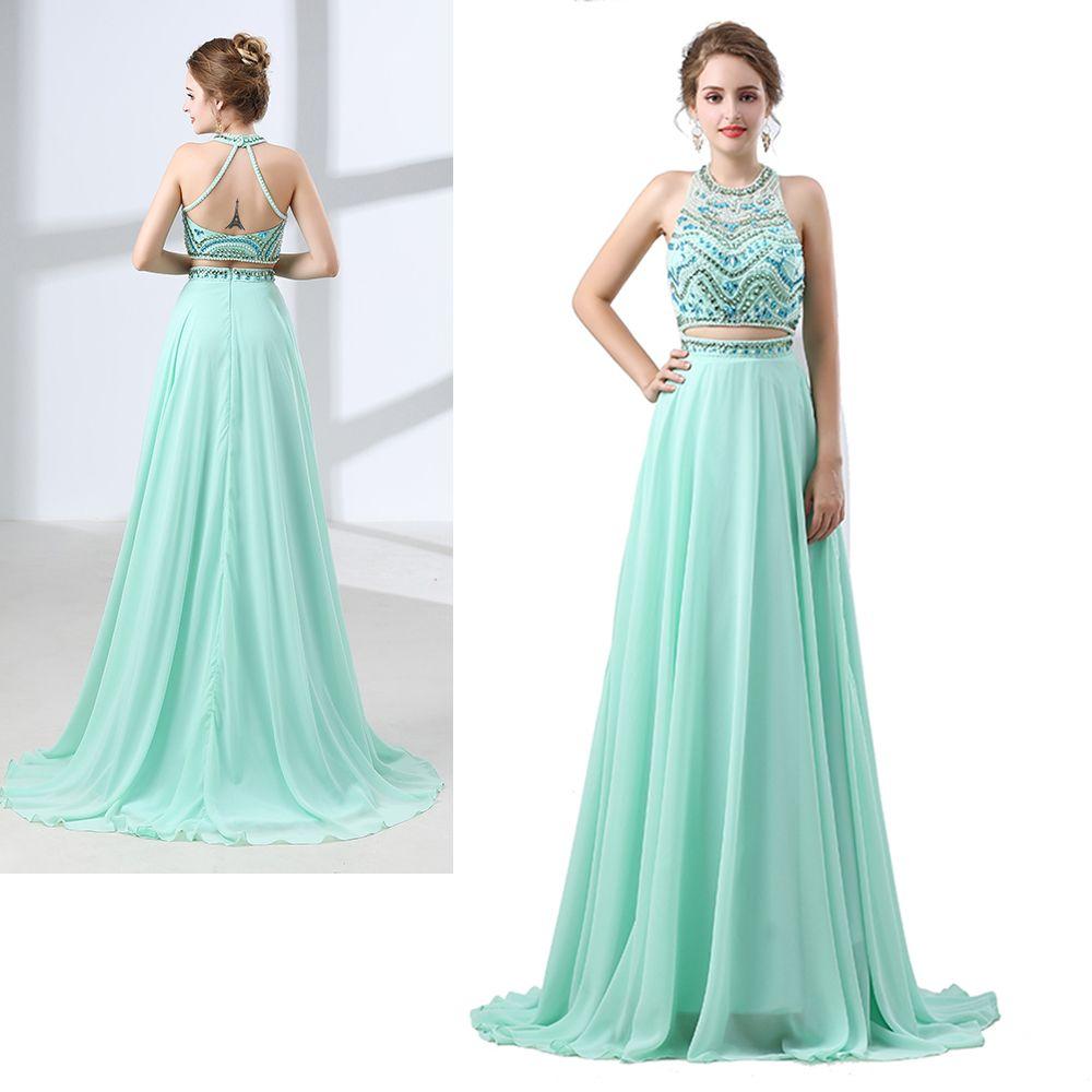 ed7e7d95cf1 ... Wholesale Halter Floor Length Two Pieces Dress Sleeveless Exposed Boning  Backless Beaded Graduation Dress CYH00006643 Pink Graduation Dresses Purple  ...