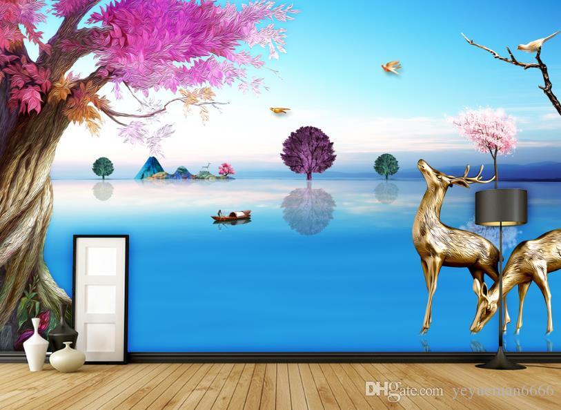 Фото обои цветочный рельеф телевизор фон Papel De Parede 3D обои для стен Home Decor обои 3D