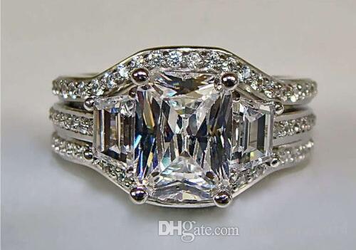 SZ5-11 Envío gratis Princesa joyería de moda corte 10kt oro blanco lleno GF topacio blanco CZ diamante simulado Wedding Lady mujeres anillo conjunto