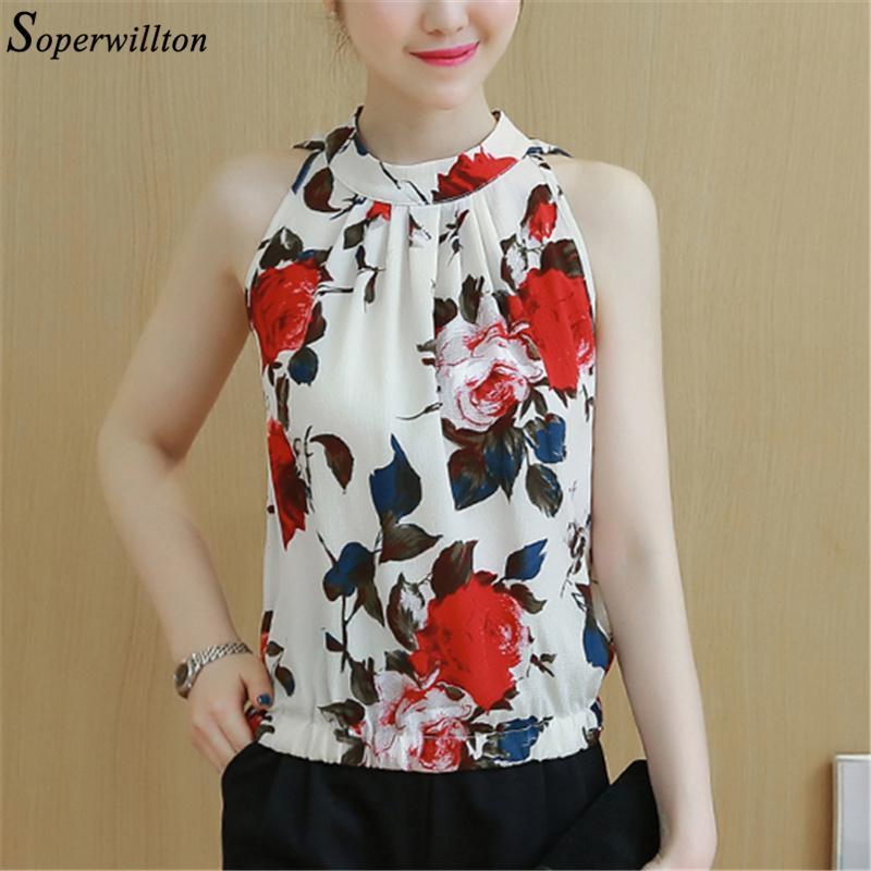 37a6250d71da26 2019 2018 New Summer Fashion Sleeveless Flower Chiffon Blouse Womens Tops  Shirts Sexy Tops Slim Large Size Print Shirt Blusas Femaine From Qingxin13,  ...