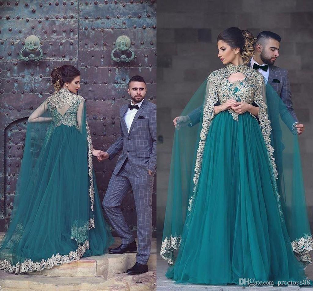 Gorgeous Applique Beading Arabic A Line Wedding Dresses Back Cape ...