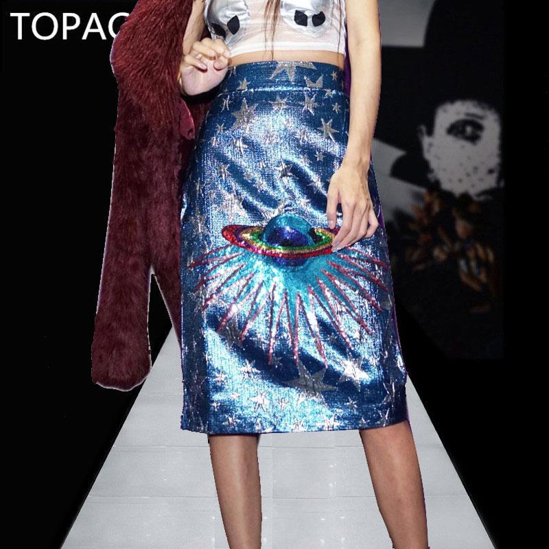 a2e8d0096b 2019 SS2018 Spring Women Runway Shimmering Rainbow Sequin Embellished  Planet Saturn Star Stunning Blue Metallic Jacquard Midi Skirt From  Longmian