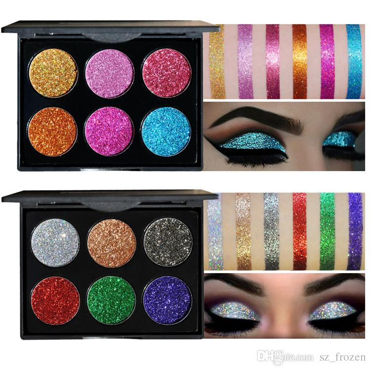HANDAIYAN Brand Makeup 6 Colors Waterproof Glitter Metallic Shimmer Eyeshadow Palette Shiny Eye Shadow Diamond Pigment Powder