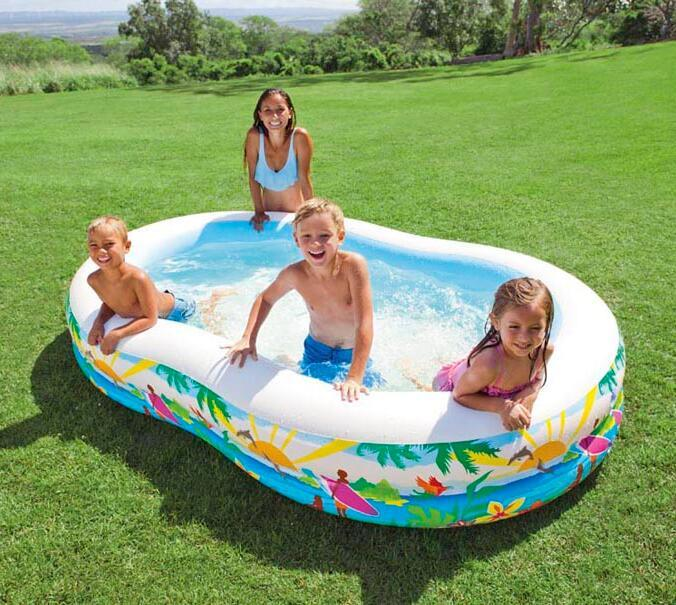 INTEX 56490 Bicyclic Eight Shaped Pool Inflatable Family Swimming Thickened Paddling Size 262 160 46CM