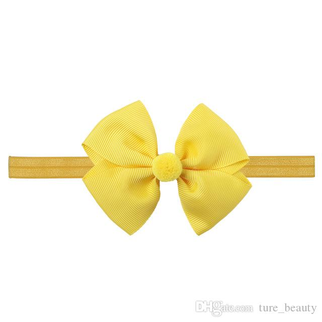 10pc Ribbon Hair Bows with Elastic Band Kids Pom Ball Headbands Hairbands Hair Accessories