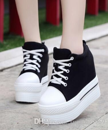 aa6e1fb64177 8cm 12cm Thick Soles Muffin Canvas Shoes Women Platform Shoes Lace Fashion  Casual Basic Models Literary White Flat Shoes Cheap Shoes Online Summer  Shoes ...