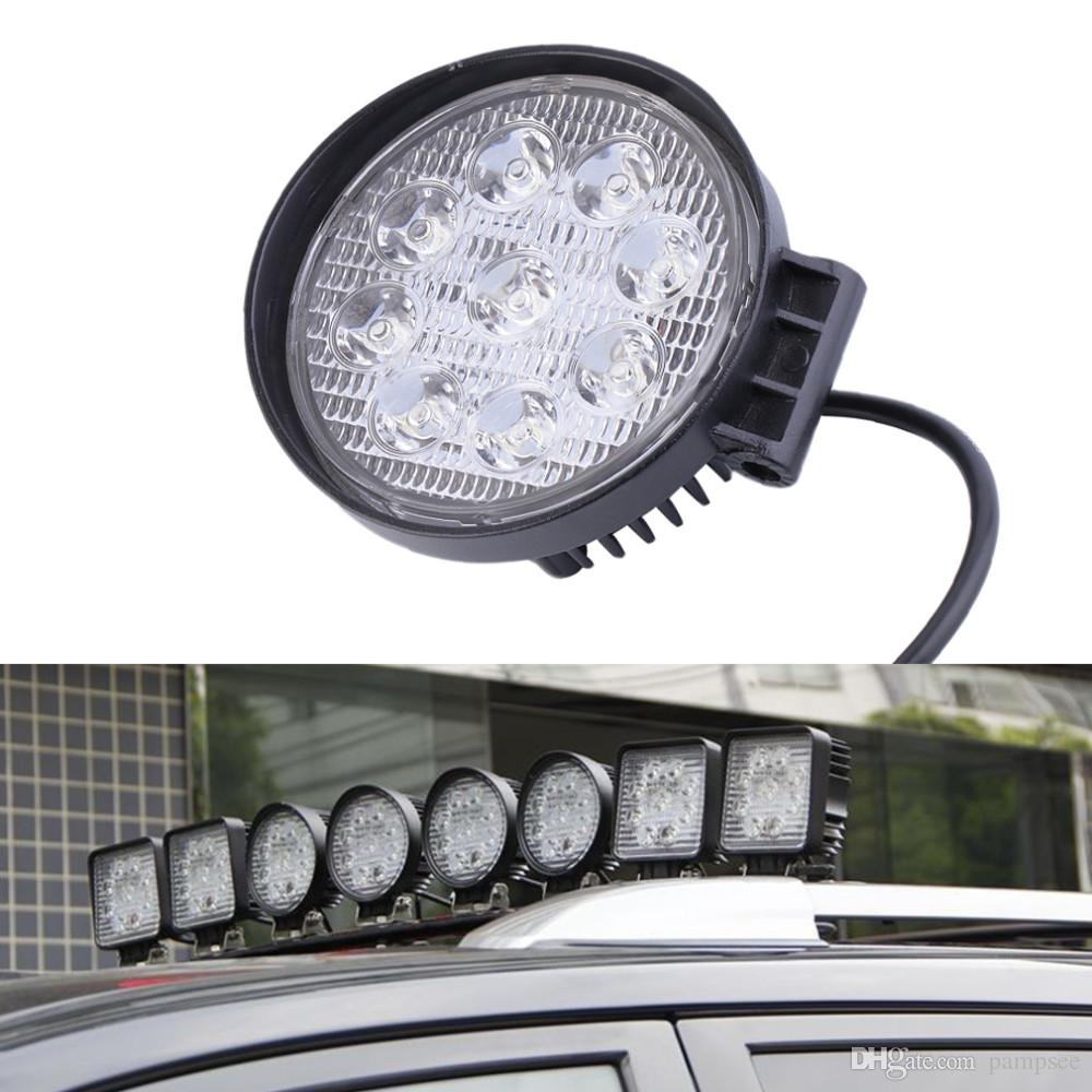 New LED Work Light 27W 12V 6500K High Power LED Offroad Light Round Off roadt Flood Light for Boating Hunting Hot