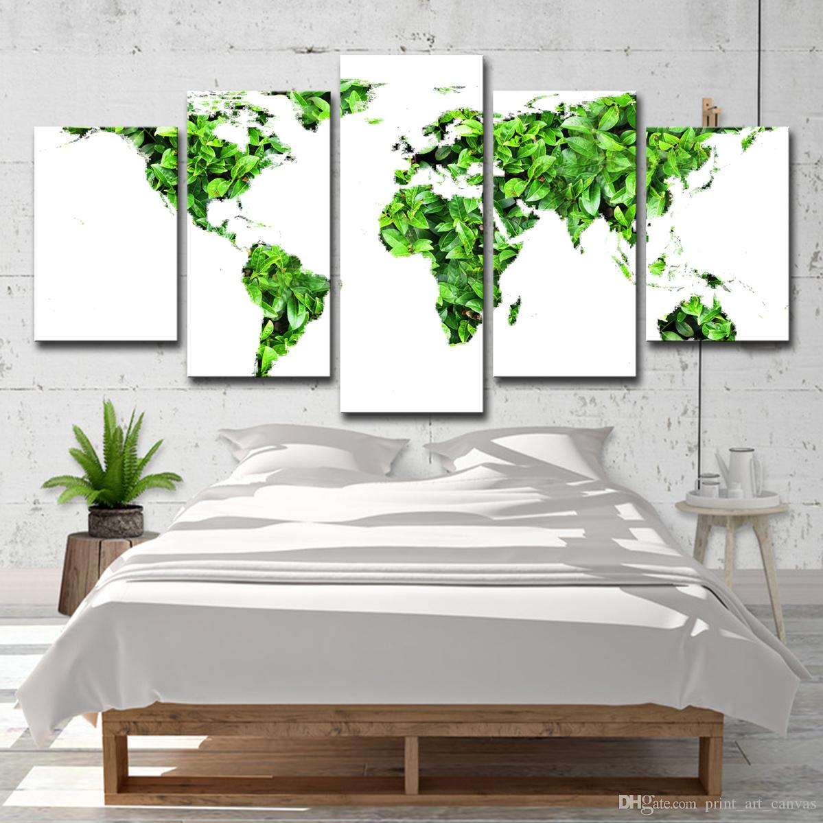 Canvas Wall Art HD Prints Pictures 5 Pieces Map Of The Small Fresh World Painting Home Decor Green Leaves Poster Living Room