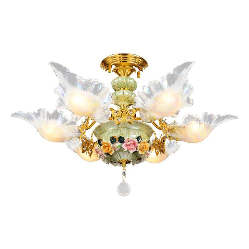 Cristal Lampe Céramique Pastoral Style Chaleureux Romantique Et BrCxeWdo
