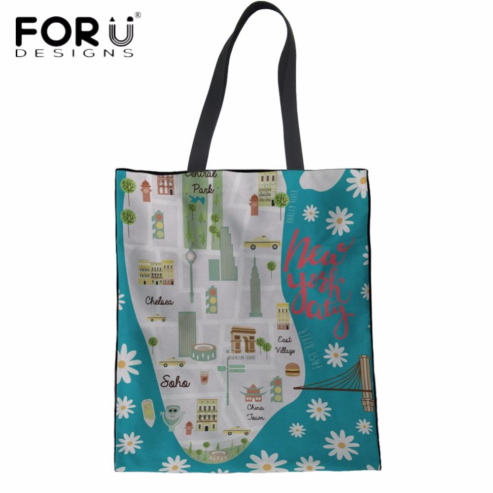 55801448bc29 FORUDESIGNS New York City Fashion Design Girls Tote Canvas Bags Reusable  Ladies Eco Bag Large Storage Shopper Bags For Female Wholesale Leather  Handbags Buy ...