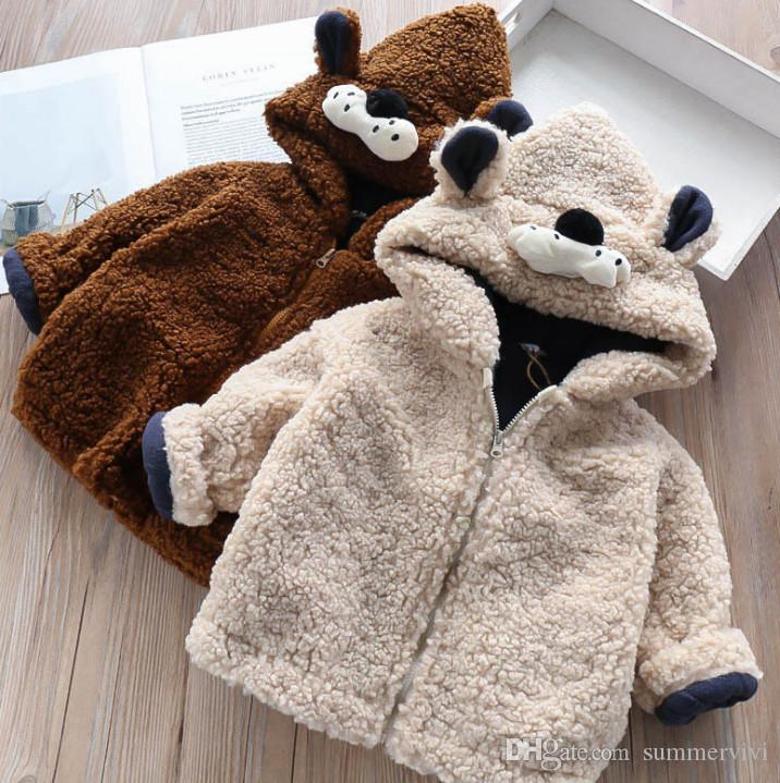 99cdb682a4b9 Fashion Kids Fleece Coat Girls Stereo Cartoon Ear Hooded Outwear ...