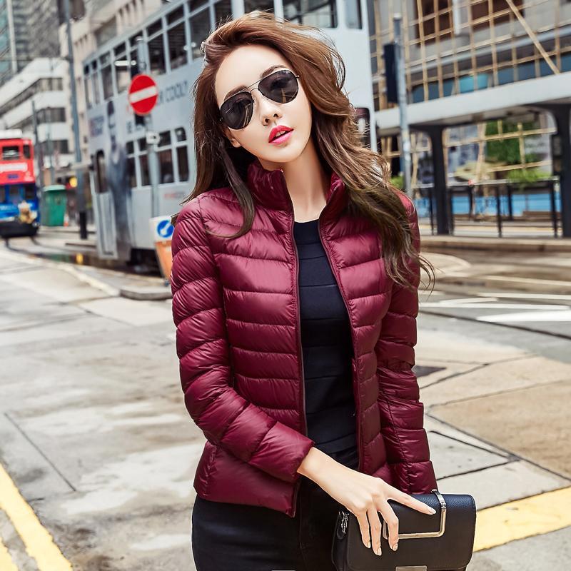 59e46ebbb 2017 Women Ultra Light Down Jacket Winter Duck Down Jackets Women Slim Thin  Llong Sleeve Parka Zipper Coats Pockets Solid S1031