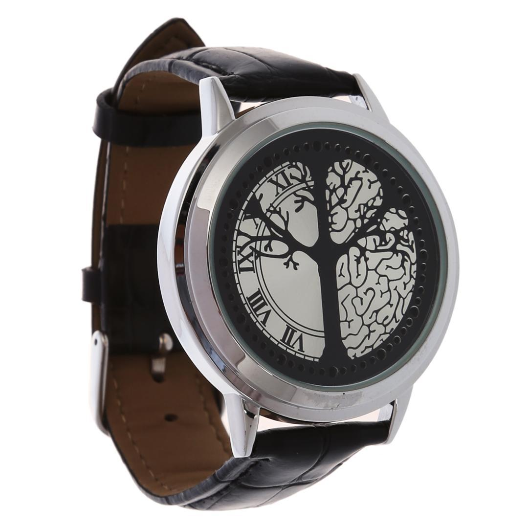 Watches Led Touch Screen Watch Unique Cool Watch With Tree Pattern Simple Black Dial 60 Blue Lights Watch With Soft Black Leather Strap Complete In Specifications Digital Watches