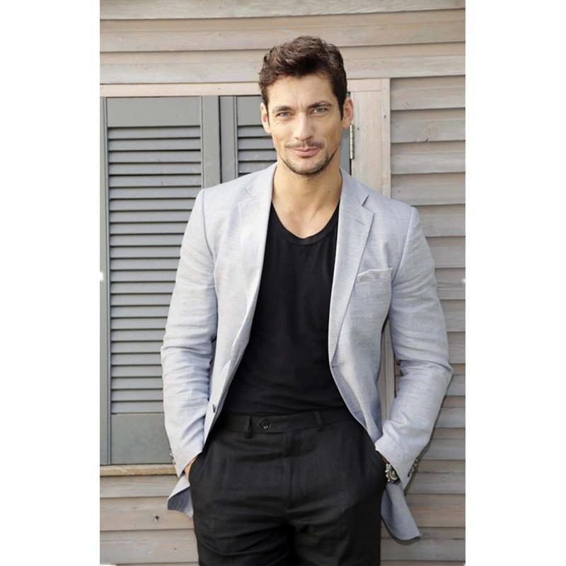 9eaecfacc6972 Latest Coat Pant Designs Light Grey Men Suits Casual Linen Summer Beach  Custom Slim Fit Blazer 2 Pieces Tuxedo Jacket Pants..12