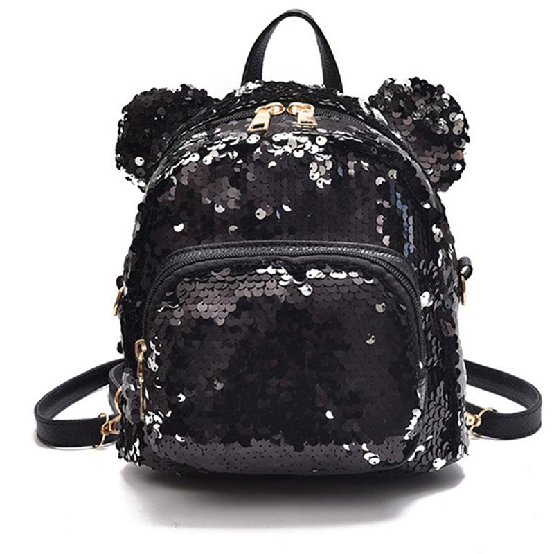 Shining Women Sequins Backpacks Teenage Girls Travel Large Capacity Bags  Portable Party Mini School Bags Shoulder Bag For Lady Travel Backpacks Small  ... dc91c1ea68590