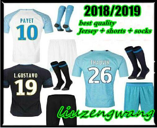 4feb5ccd638 Adult Men Kits 18 19 Olympique De Marseille Soccer Jersey 2018 2019 ...