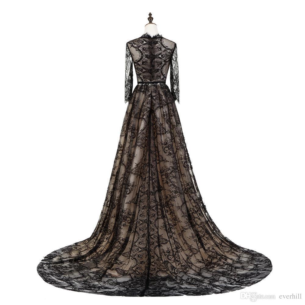 High Neck Sheer Spitze Langarm Prom Abendkleider Schwarz Gericht Zug Muslimischen Abendkleid Dubai Formale Party Kleider Abiti Da Sera 2018