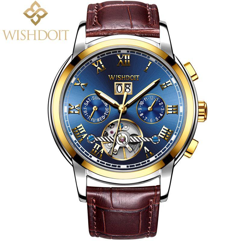 Sportuhr Leder Armbanduhr Uhr Männer Business Wishdoit Automatische Casual Hombre Mechanische Retro Uhren 7g6vbYfy