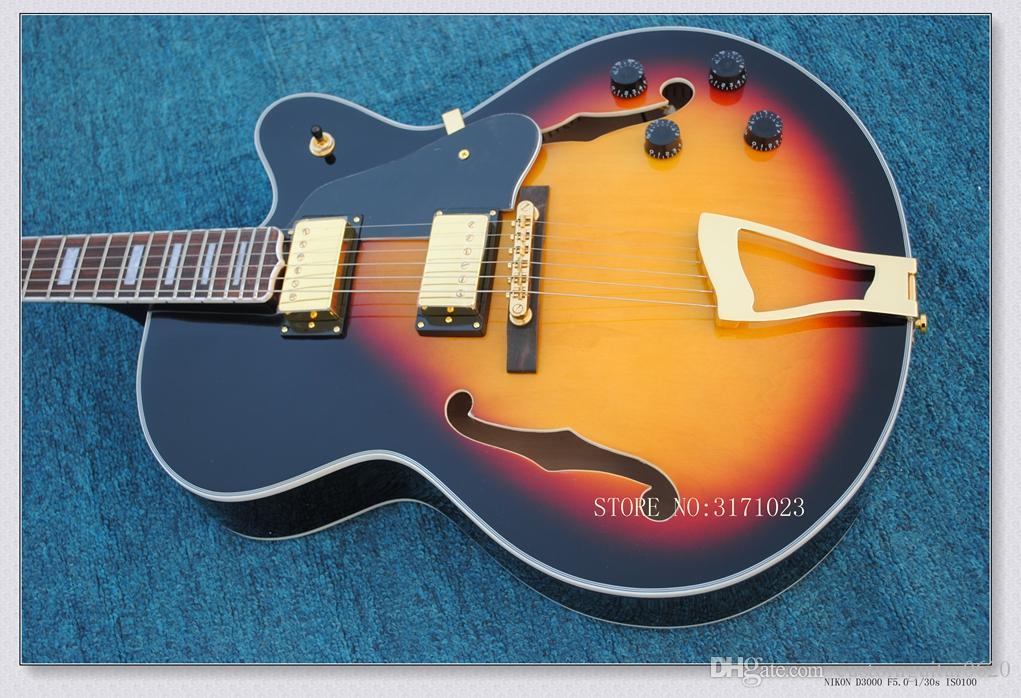 2017 nuovo di zecca chitarra chitarra top acero fiammato 6120 Jazz con chitarra elettrica corpo vuoto in azione chitarre Cina