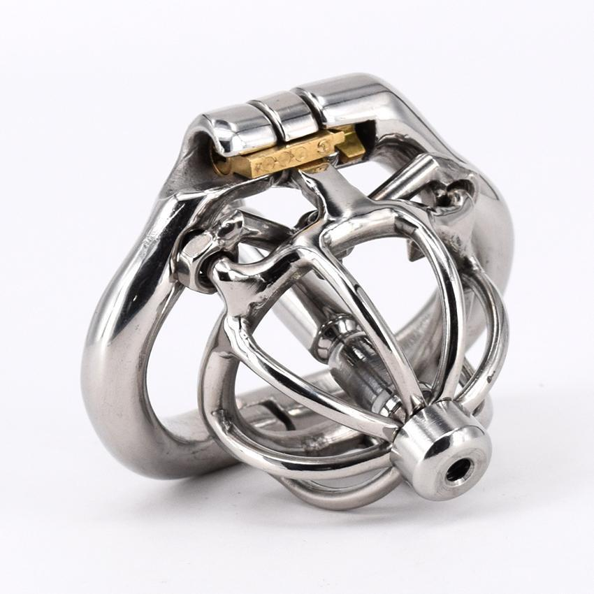 Magic lock new chastity devices with spikes anti-off ring stainless steel Super small male chastity device Short Cock Cage For Men Arc Base