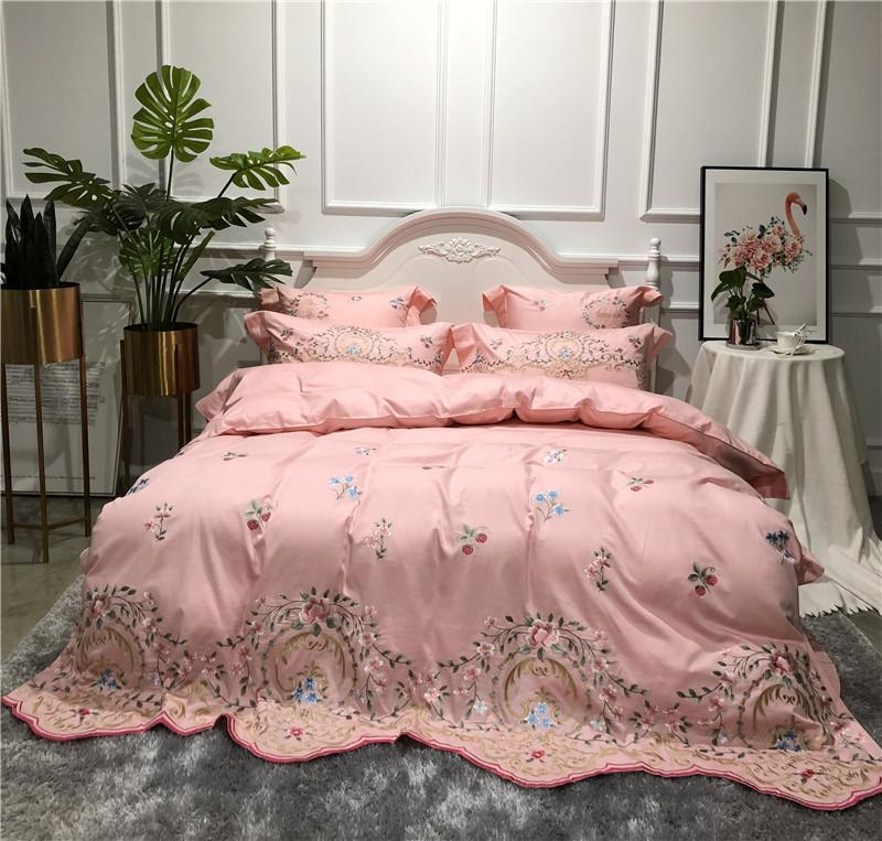 f1b893ebb518 Pink Luxury Embroidery 80S Egyptian Cotton Comfortable Bedding Set Duvet  Cover Bed Linen Bed Sheet Pillowcases King Queen Size Luxury Bedding Girls  Bedding ...