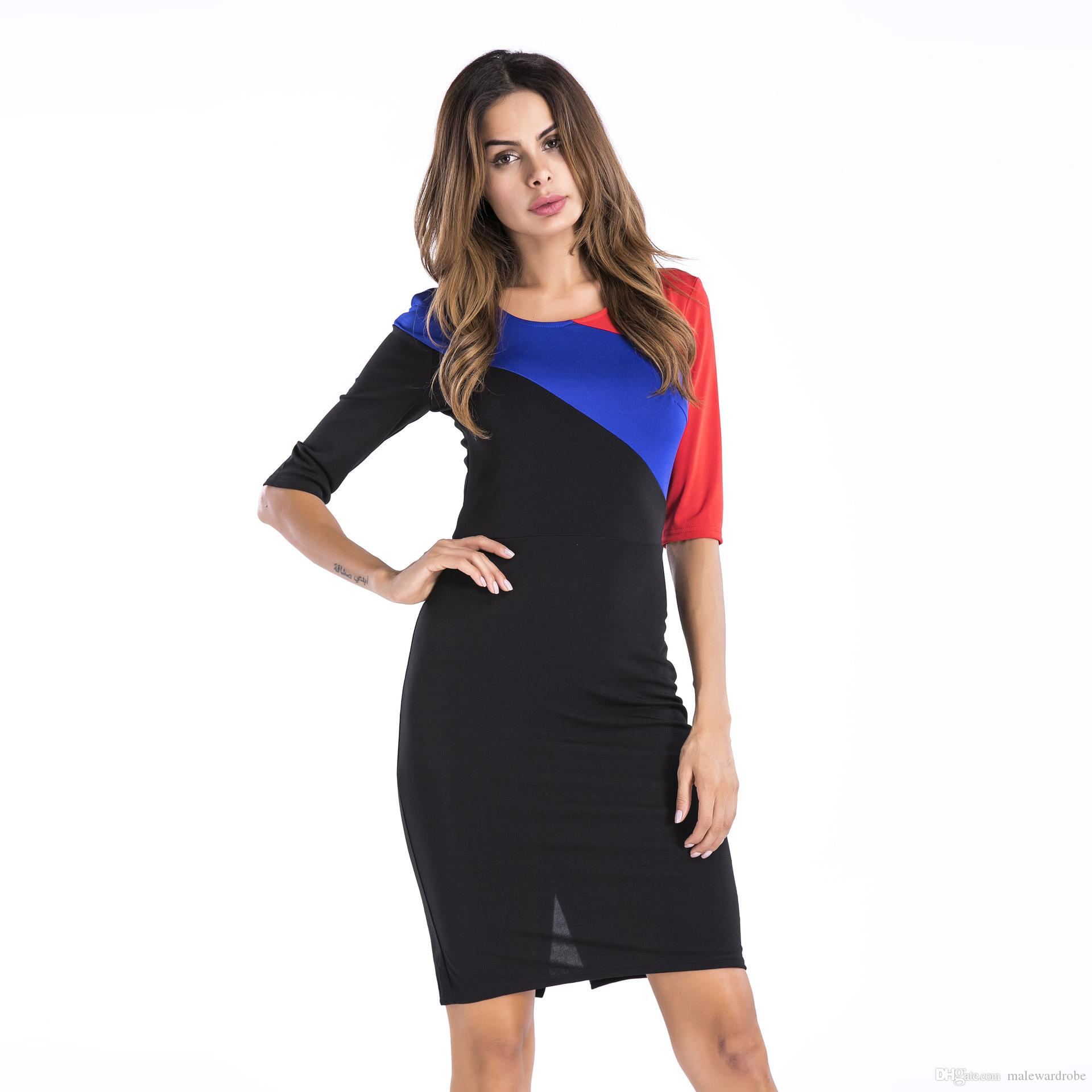 f4e1c302243783 2019 Summer New Women Clothes Dress Colors Contrast Slim Fit Pencil Dresses  Formal Elegant Dressing From Malewardrobe