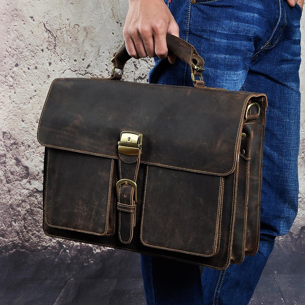 Men Original Leather Heavy Dudy Business Briefcase Laptop Case Professional Executive Portfolio Organizer Messenger Bag 1031d