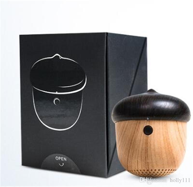 Mini wooden bluetooth portable speaker travel built-in microphone speaker nut stereo wireless Speakers with Mic for Outdoor