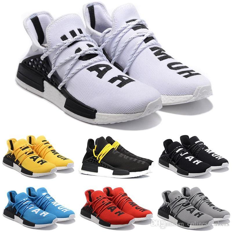big sale 6ec82 9cfa3 Human Race Running Shoes Men Women Pharrell Williams HU Runner Yellow Black  White Red Grey Blue Cheap Athletic Sports Sneakers Wholesale