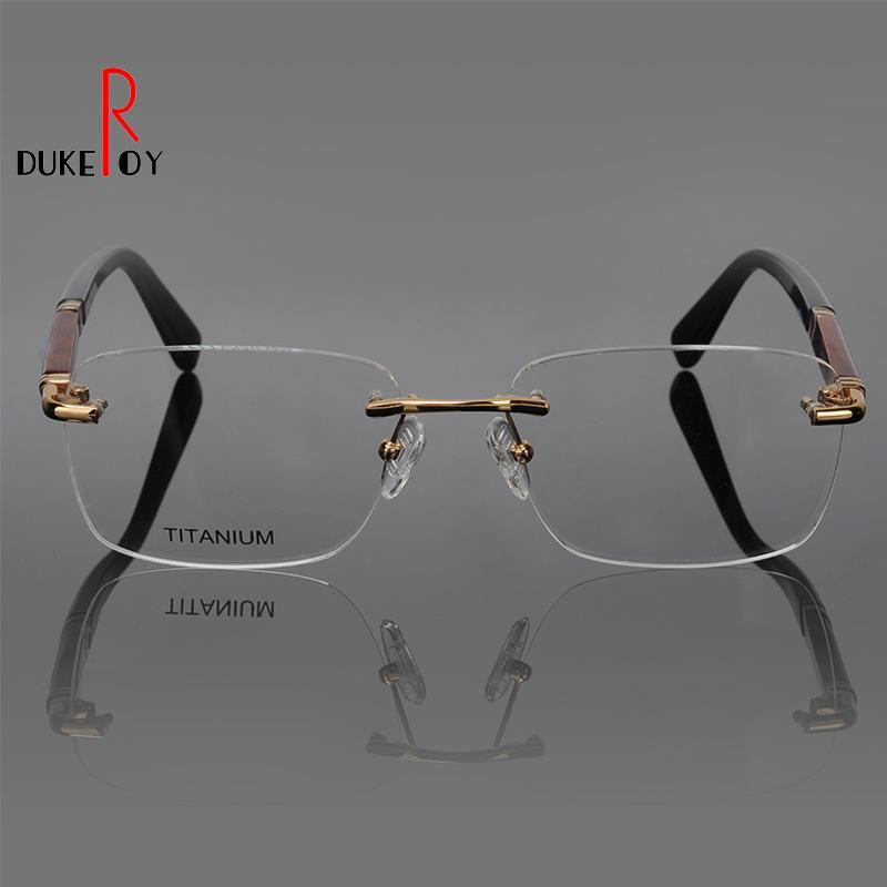 f516fded1f 2019 DUKEROY Wooden Optical Frames Fashion Men Rivet Eyeglasses Frames  Fashion Rimless Glasses Frame Memory Titanium Eyeglasses From Haydena