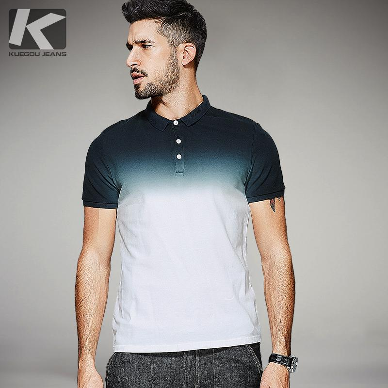 Wholesale KUEGOU 2017 Summer Mens Fashion Shirts Gradient White Color Brand  Clothing For Man s Wear Short Sleeve Slim Fit Tops 1579 UK 2019 From  Lookpack 2a753f5f74f2