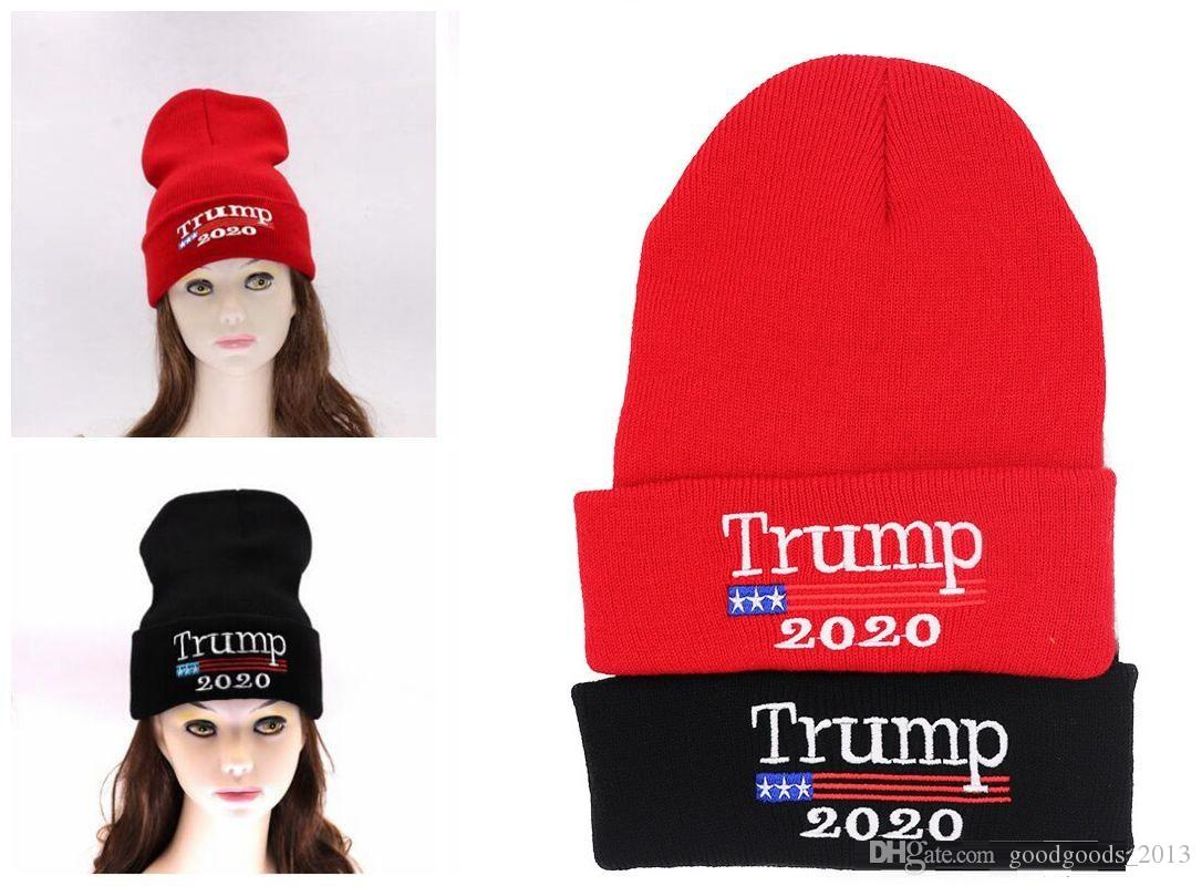Trump 2020 Knitted Hats Winter Cap Elastic Outdoor Presidential Election Hat  Warm Headwear Skullies Beanies Party Hats Z266 Trump 2020 Knitted Hats Trump  ... 9c56c4e7805