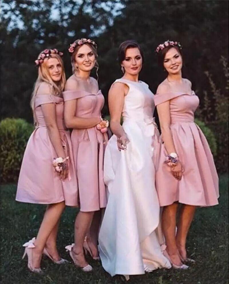 Compre 2018 Elegante Rosa Corto Vestidos De Dama De Honor Con ...