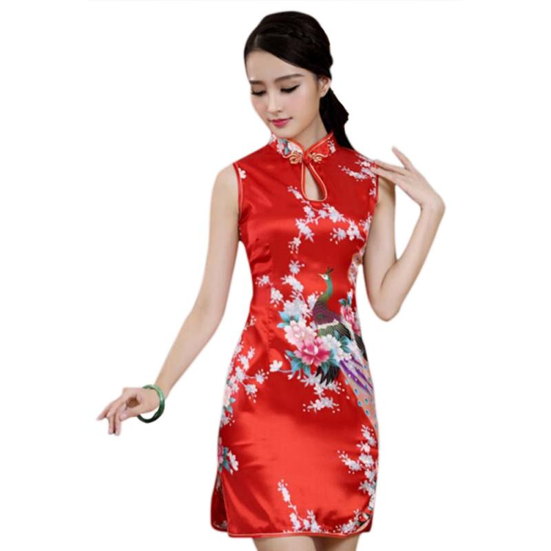 9f6ed9caf Red Chinese Traditional Women Cheongsam Silk Satin Mini Dress Sexy ...