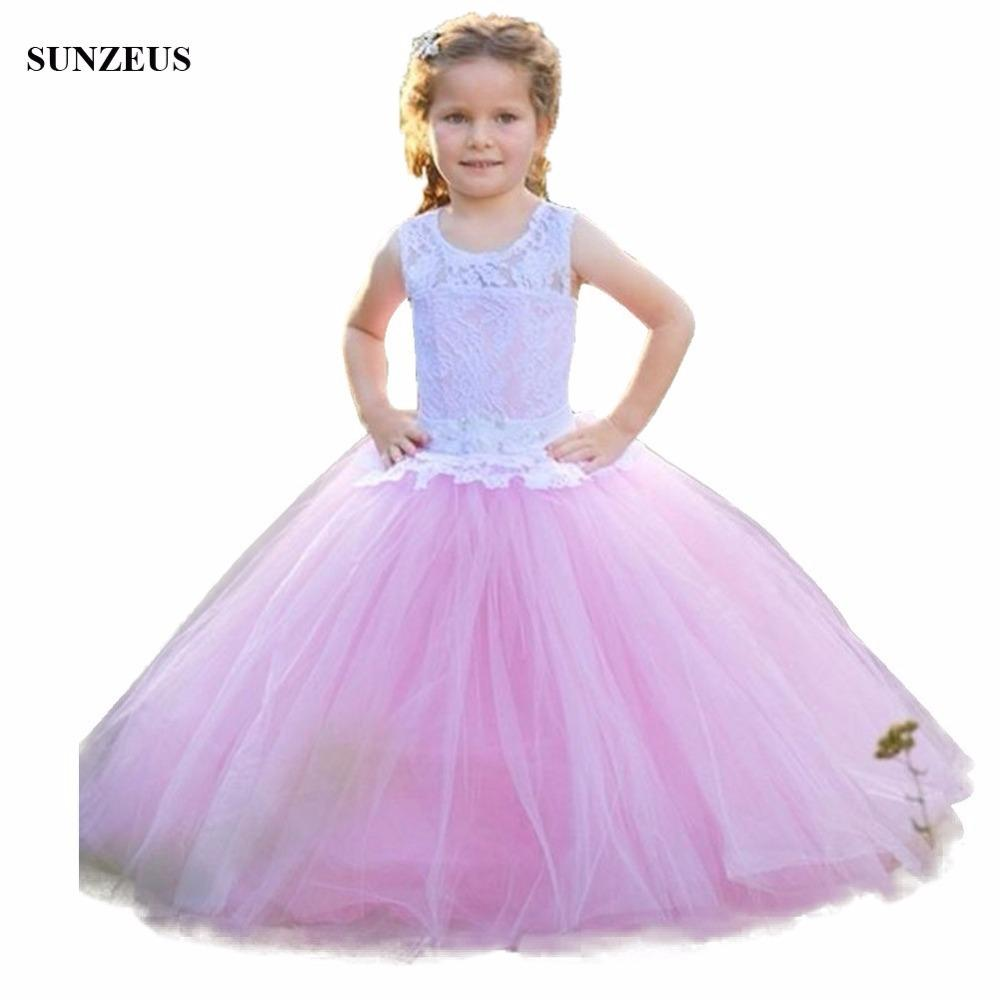 Ball Gown Pink Flower Girl Dresses With White Lace Bodice Tank