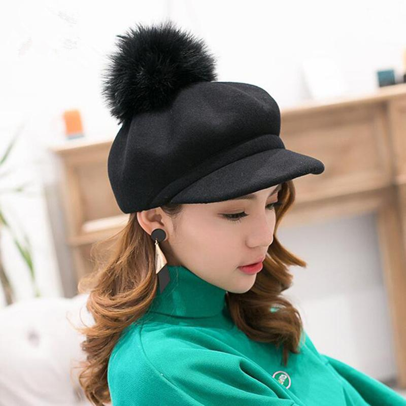 2018 Winter Female Beret Women Hat 13CM Real Raccoon Fur Pompom Beret Wool Cashmere Natural Fur Ball Women Cap for