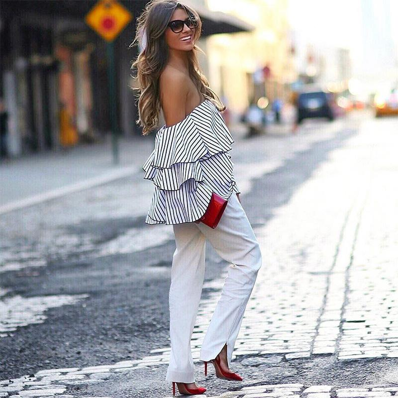 8d54d472644 2019 2019 Women Sexy Ruffle Slash Neck Off Shoulder Butterfly Long Sleeve  Casual Tops Shirts Blue White Striped Blouses From Lixlon02, $26.83 |  DHgate.Com