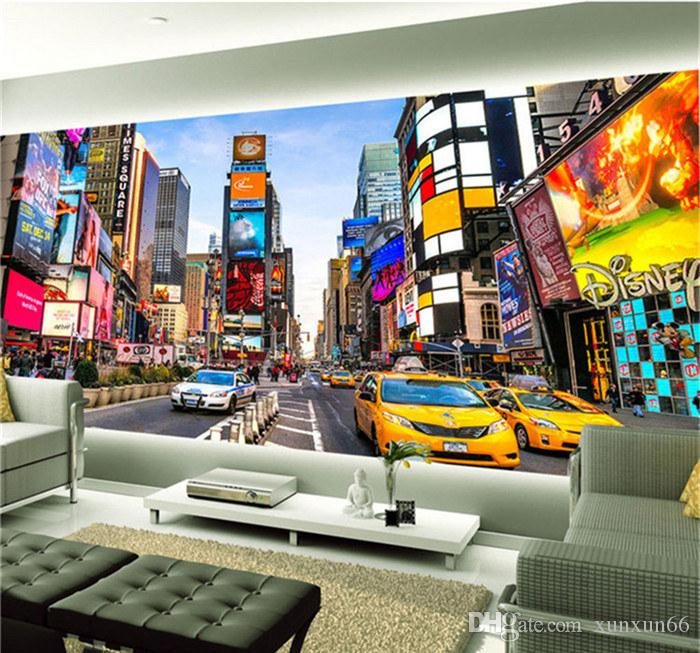 Custom 3D Photo Wallpaper Times Square New York Modern Street View Shop Bar Bedroom Living Room Theme Wallpaper 3D Stereo Mural